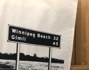 Winnipeg Beach and Gimli road sign Tote Bag