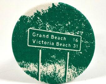 Grand Beach + Victoria Beach Road Sign Magnet
