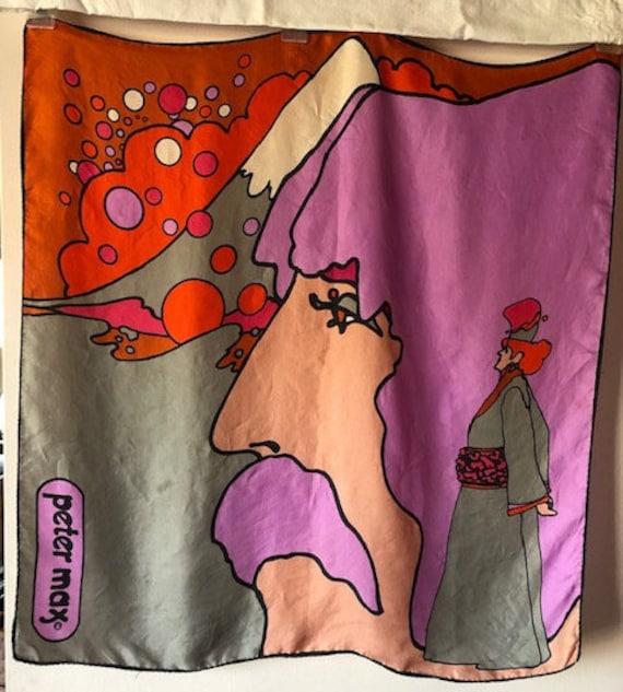 1970 Peter Max Self Portrait Psychedelic Silk Scar