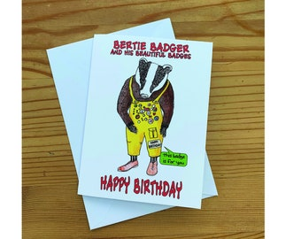 Bertie Badger Birthday Card, Animal card, badger card,
