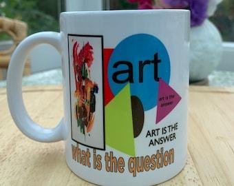 Art Mug, Art Lovers Tea mug,Mid-century style art coffee mug