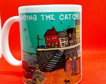 Landing the Catch Mug, sea mug, harbour scene, fishing boat landing