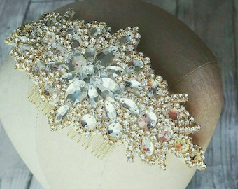 Gold crystal comb, Bridal comb, hairpiece, bridal jewellery