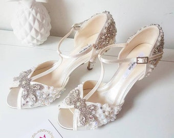 e5626595e70a crystal Ivory pearl Bridal shoes peep toe vintage t-bar satin wedding shoes  ivory shoes i do shoes bride shoes crystal shoes pearls Ivory