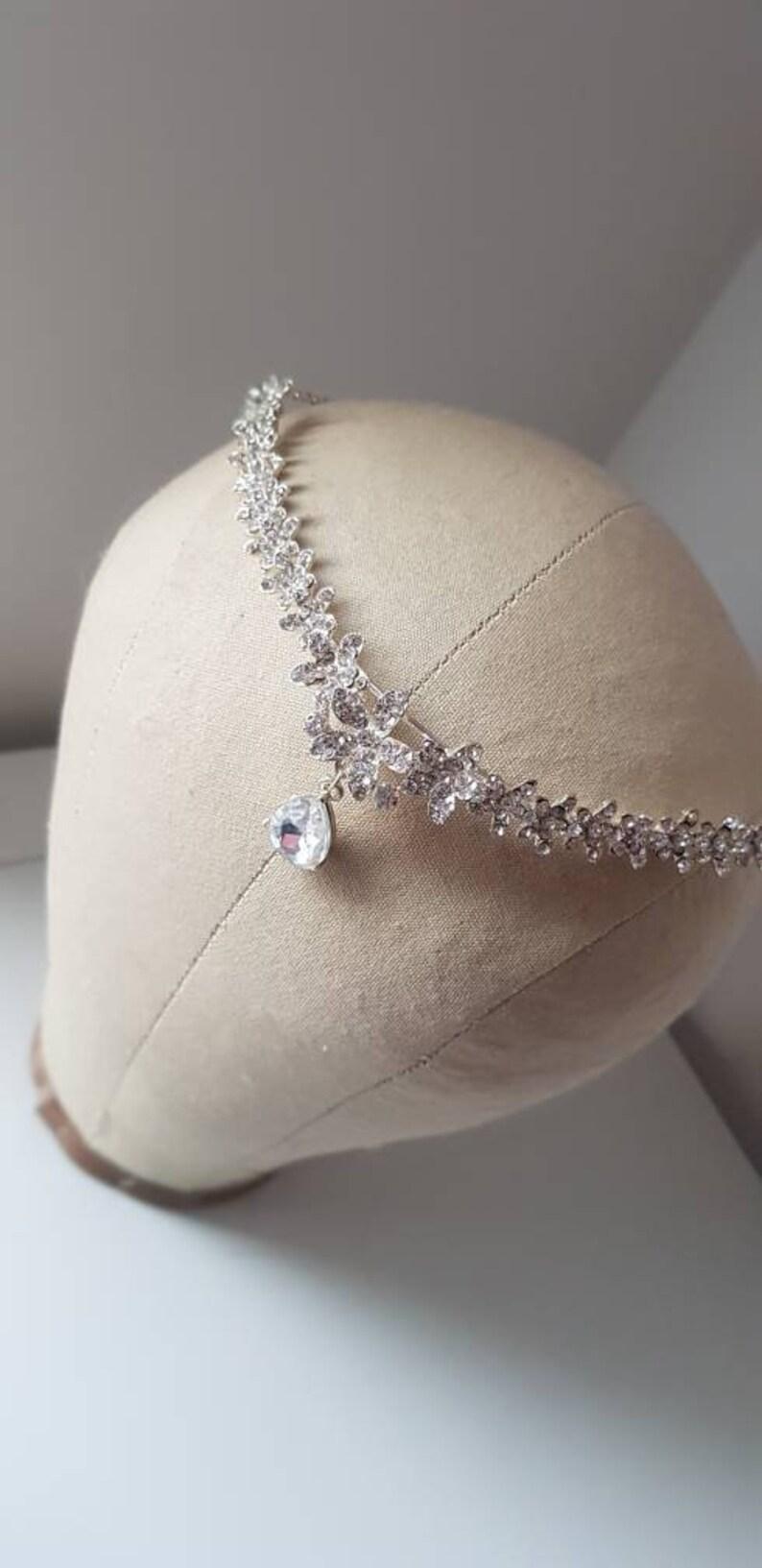cf5cc93fe64cee Silver Wedding droplet tiara wedding Hairpiece crystal bridal