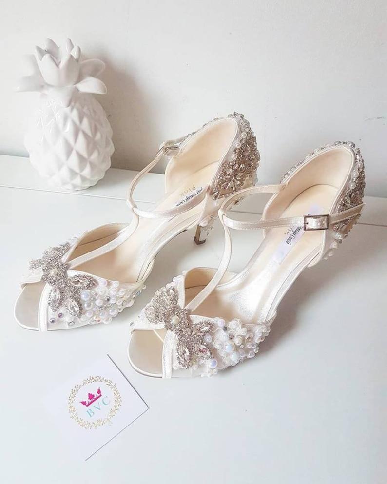 Crystal Ivory pearl Bridal shoes peep toe vintage t-bar satin  f46fc7c908ce