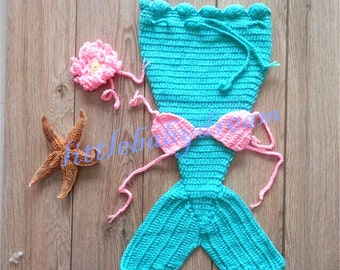 On Sale! Mermaid Costume Crocheted Knitted Infant Baby Girl Boy Photo Photography Prop newborn / 0-3 Month Baby Girl Boy EL40