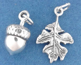 ACORN and OAK LEAF Charm Set .925 Sterling Silver Autumn Pendant - sc554a