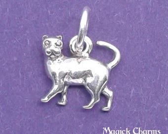 CAT or Kitten Charm .925 Sterling Silver MINIATURE Small - elp1634