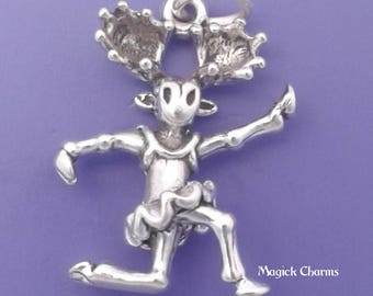 Moose BALLERINA Charm .925 Sterling Silver Ballet Dancer, Dancing Pendant - lp2652