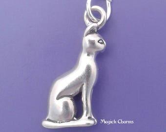 SIAMESE Cat Charm .925 Sterling Silver Egyptian Sphinx, Bast, Bastet Pendant - lp1202