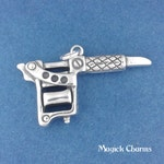 TATTOO GUN Charm .925 Sterling Silver Artist Pendant - d38064