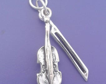 e8fcb0736 ... coupon code for violin charm .925 sterling silver musical instrument  violin with bow movable charm