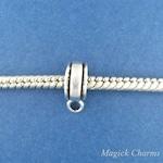 Converter Bead For EUROPEAN Dangle Charm, .925 Sterling Silver DIY Charm Holder, Bail, Adapter Bead, Banded Edge - cb90h