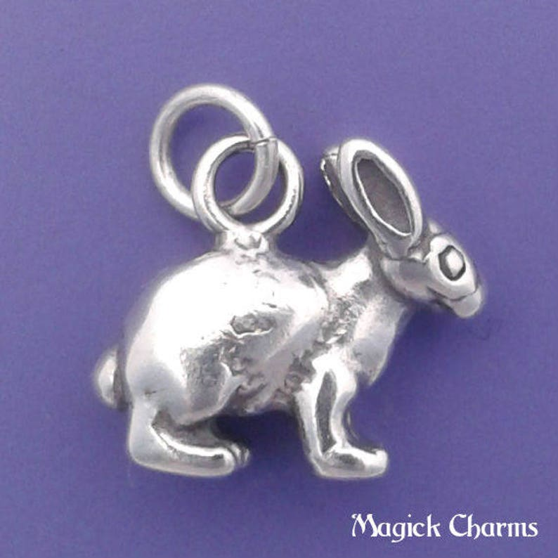 BUNNY Rabbit Charm .925 Sterling Silver Easter Bunny Small  image 0