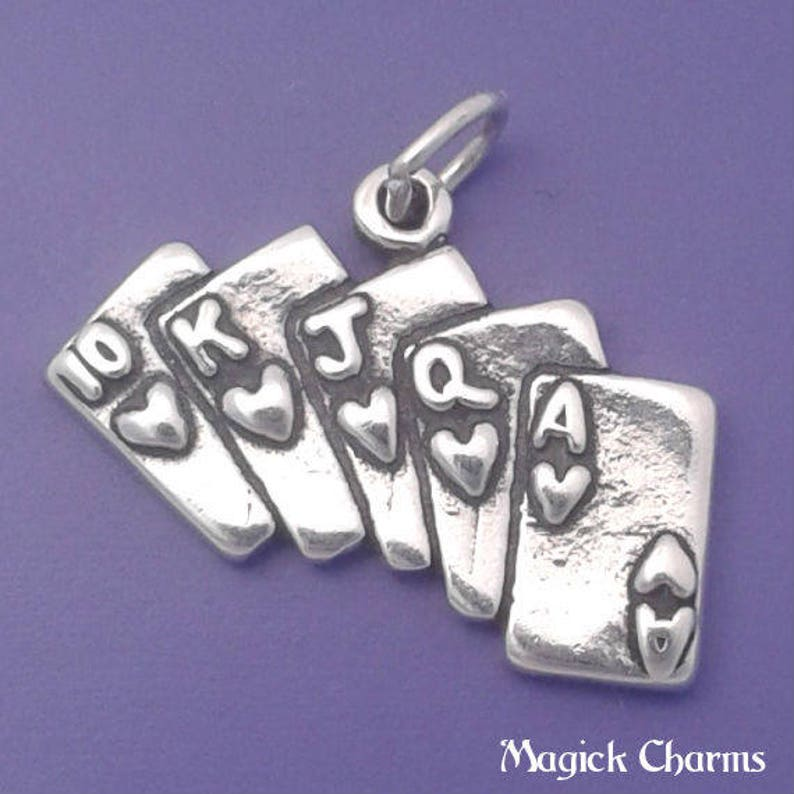 ROYAL FLUSH Charm .925 Sterling Silver Poker Hand Playing image 0