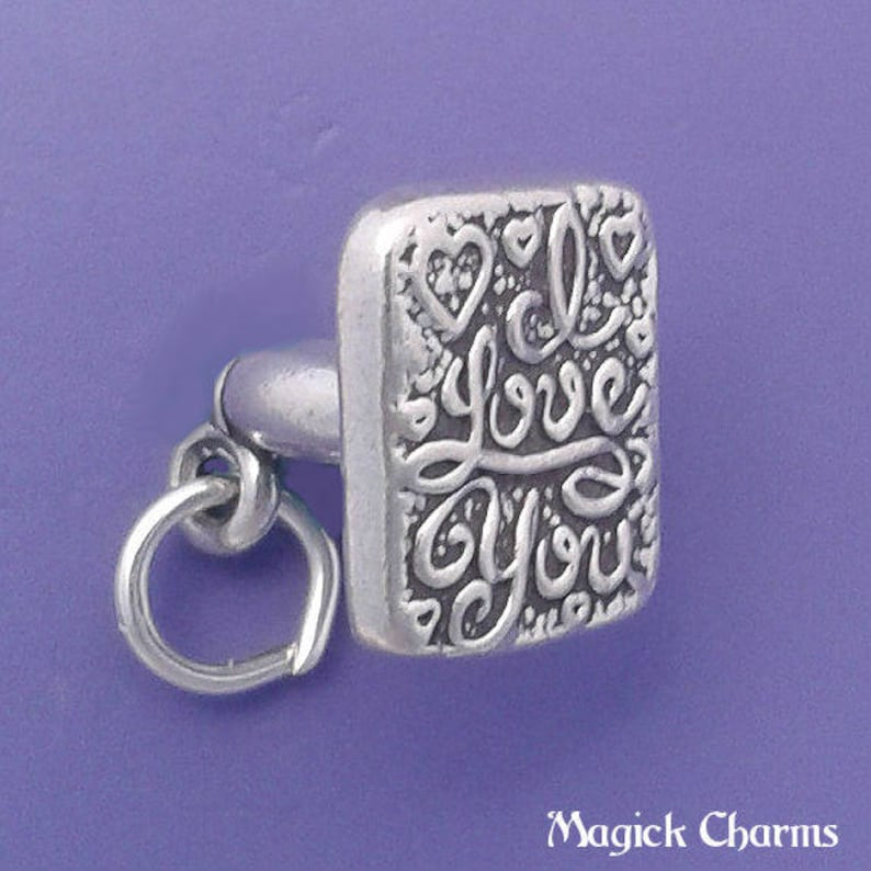 I LOVE YOU Stamp Charm .925 Sterling Silver Pendant  lp2058 image 0