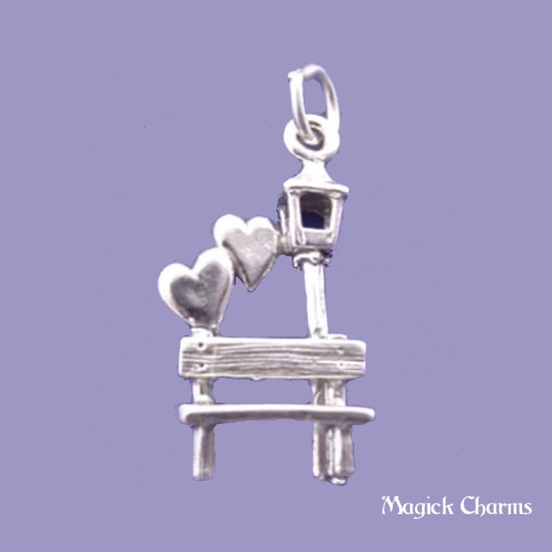 Lovers PARK Garden BENCH With Hearts Charm .925 Sterling image 0