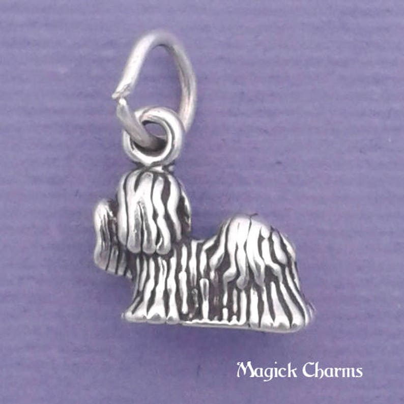 SHIH TZU Charm .925 Sterling Silver Lhasa Apso Miniature Small image 0