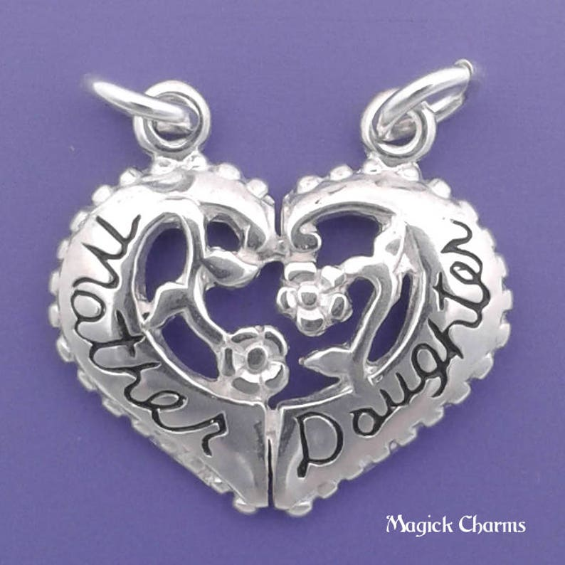 MOTHER DAUGHTER Heart Charm .925 Sterling Silver Break Apart image 0