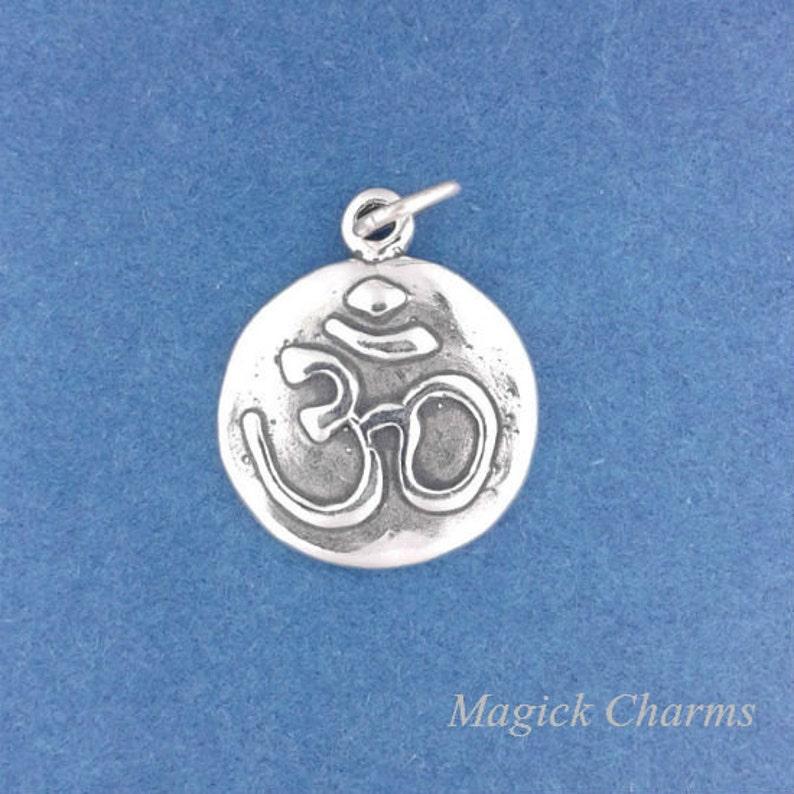 OM Charm .925 Sterling Silver YOGA Ohm Hindu Symbol image 0