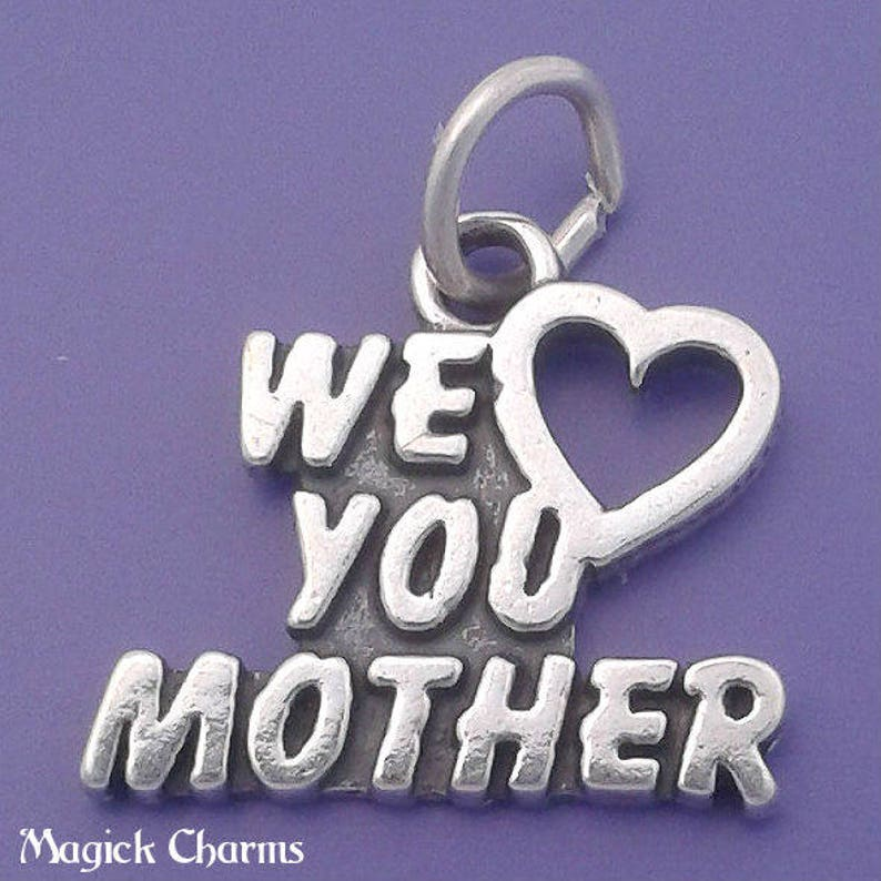 We LOVE You MOTHER Charm .925 Sterling Silver Pendant  f5187 image 0