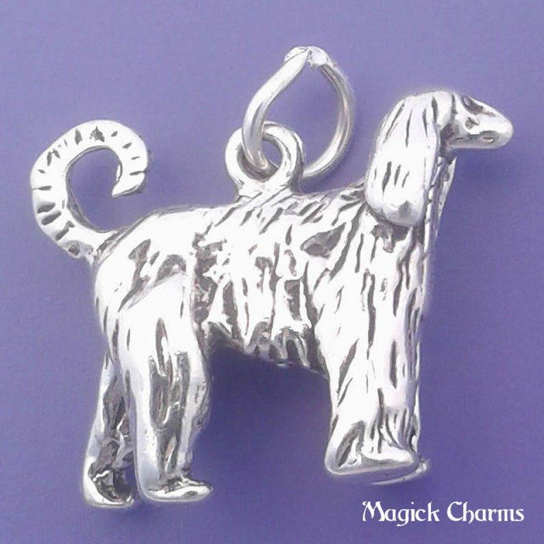 AFGHAN HOUND Charm .925 Sterling Silver Dog Pendant  lp2086 image 0