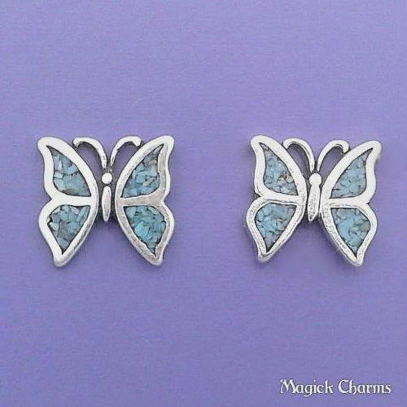 Blue BUTTERFLY EARRINGS .925 Sterling Silver Post Stud  se641 image 0