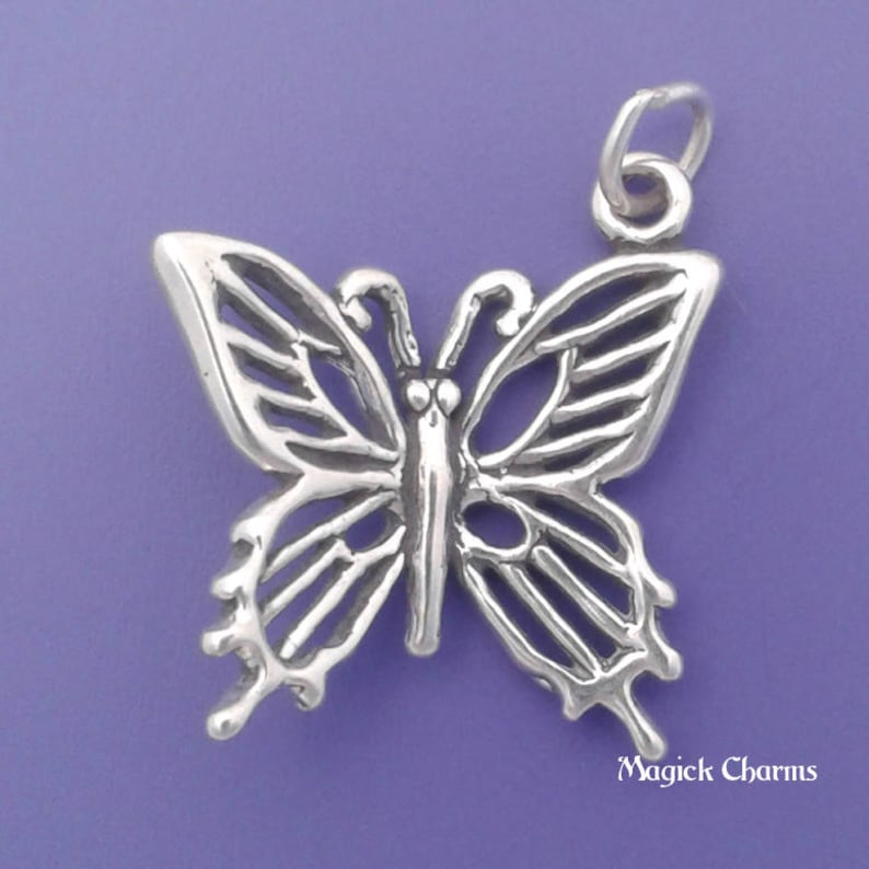 BUTTERFLY Charm .925 Sterling Silver Garden Insect Pendant  image 0