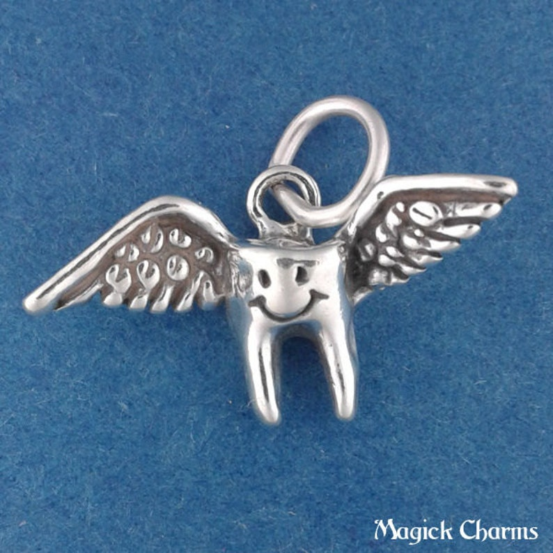 TOOTH FAIRY Charm .925 Sterling Silver Losing First Baby Tooth image 0