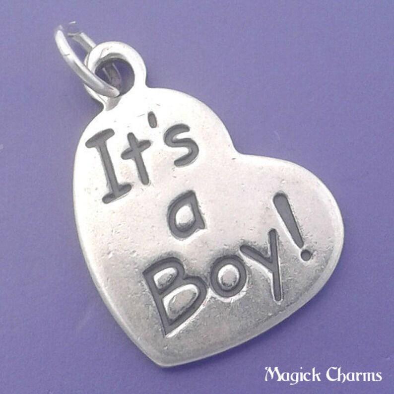 IT'S A Boy Heart Charm .925 Sterling Silver Newborn Baby image 0