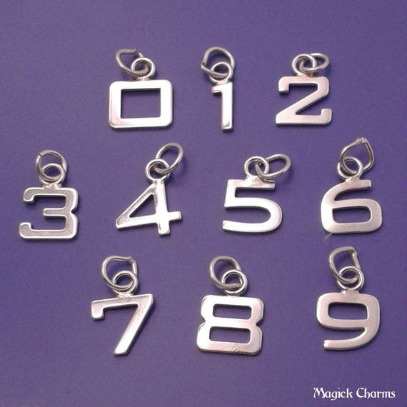 Number 0 Charm Numeral Zero Pendant Lobster Clasp Fashion Sterling Silver