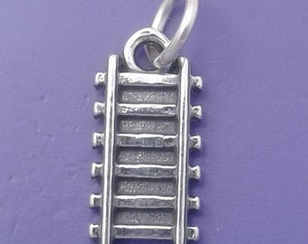 TRAIN TRACK Charm .925 Sterling Silver Railroad Tracks Engineer Pendant - f3172