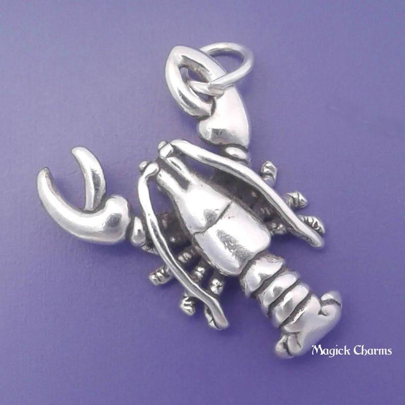 LOBSTER Charm .925 Sterling Silver Ocean SEAFOOD Pendant  image 0