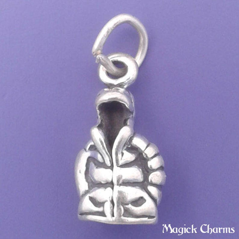 Winter Snow Ski Mitten 3D .925 Solid Sterling Silver Charm MADE IN USA