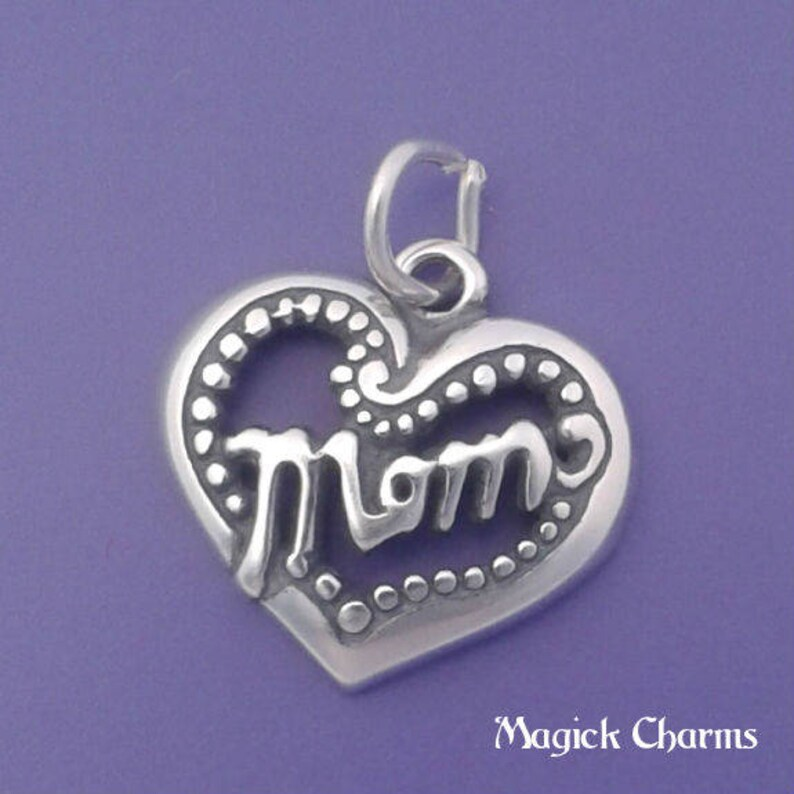 MOM HEART Charm .925 Sterling Silver Pendant  d35556 image 0