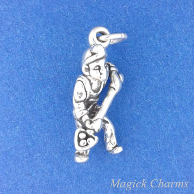 MINER With Shovel Charm .925 Sterling Silver Coal Miner image 0