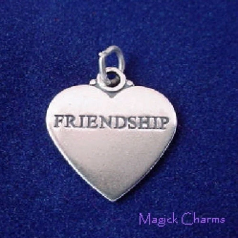 FRIENDSHIP HEART .925 Sterling Silver Charm Pendant  lp3353 image 0