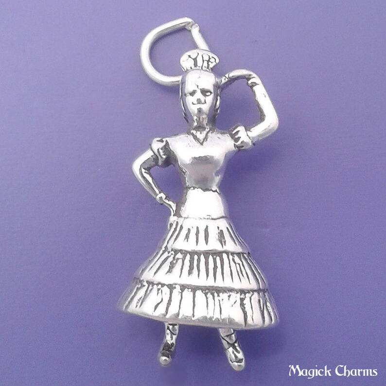 SPANISH DANCER Charm .925 Sterling Silver Flamenco Spain image 0