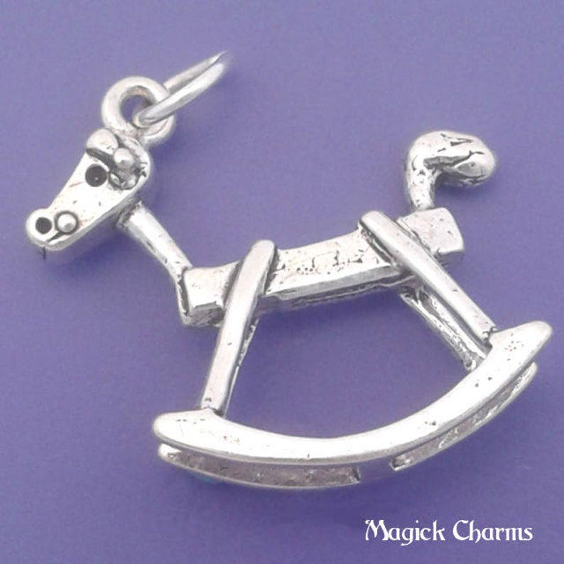 ROCKING HORSE Charm .925 Sterling Silver Baby Child Toy image 0