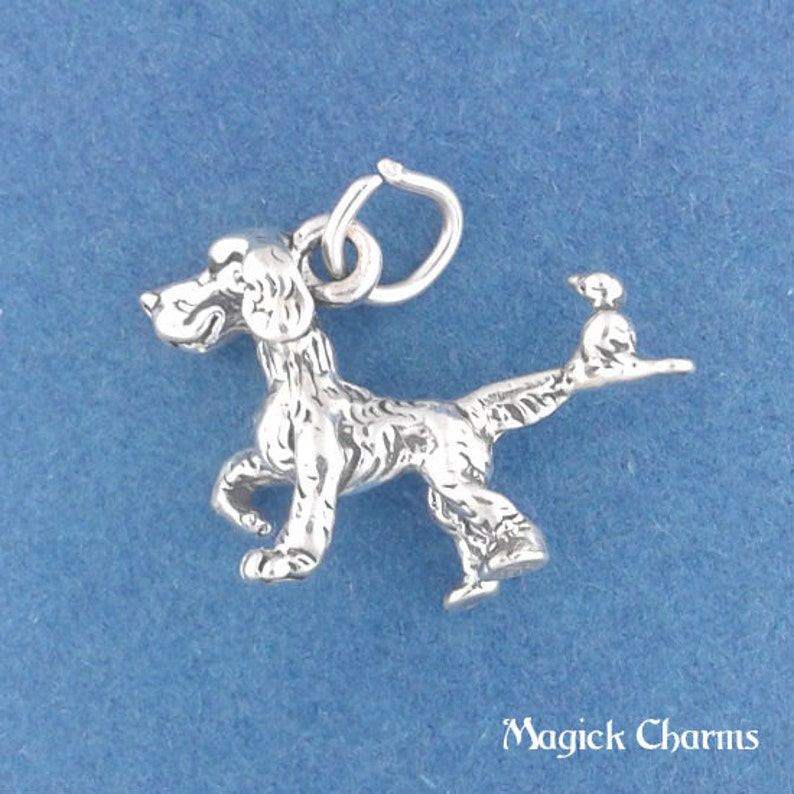 DOG With BIRD On Tail Charm .925 Sterling Silver Hunting Dog image 0