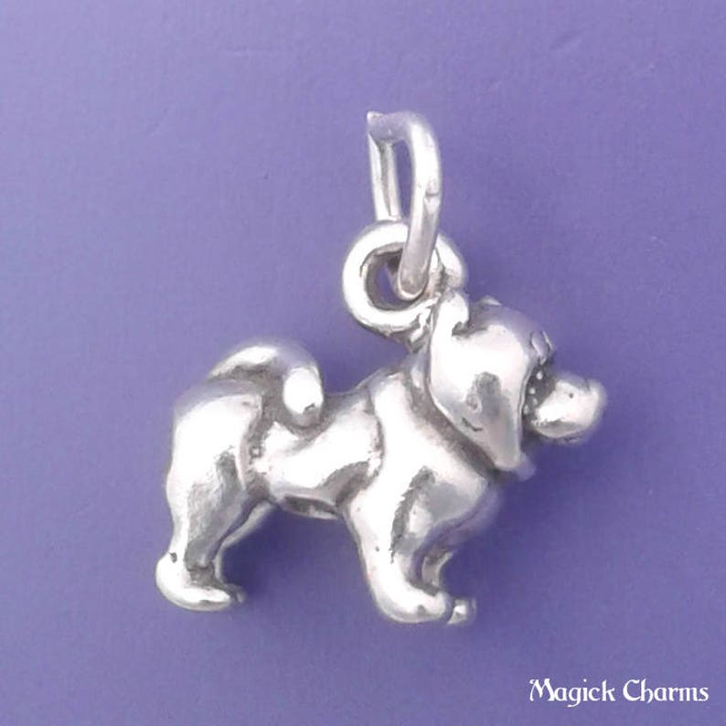 CHOW CHOW Charm .925 Sterling Silver Miniature Small Dog  image 0