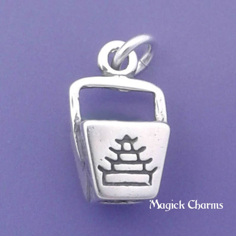 CHINESE FOOD Charm .925 Sterling Silver Pendant Take Out Box image 0