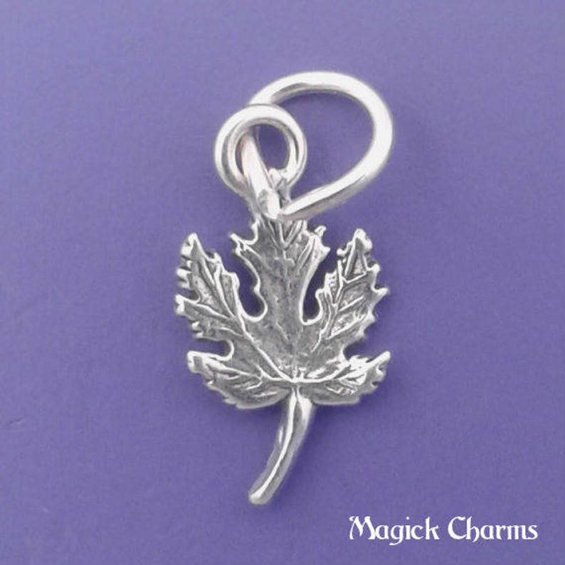 MAPLE LEAF Charm .925 Sterling Silver Fall Autumn Leaves image 0