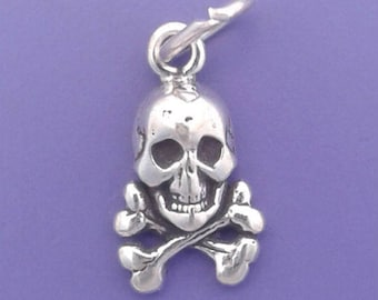 SKULL and CROSSBONES Charm .925 Sterling Silver Pirate Symbol MINIATURE Small - elp1776