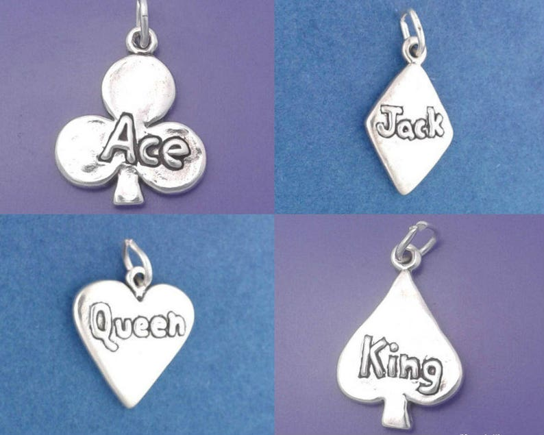 CARD SUIT Charm 925 Sterling Silver Pendant Ace Jack Queen image 0