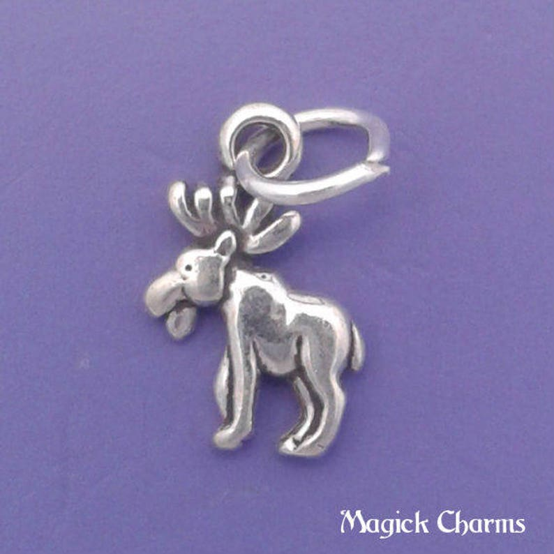 MOOSE Charm .925 Sterling Silver Elk or Deer MINIATURE Small  image 0