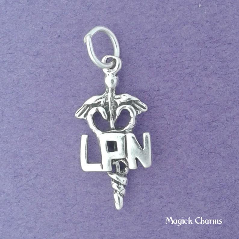 LPN Charm .925 Sterling Silver Licensed Practical Nurse image 0