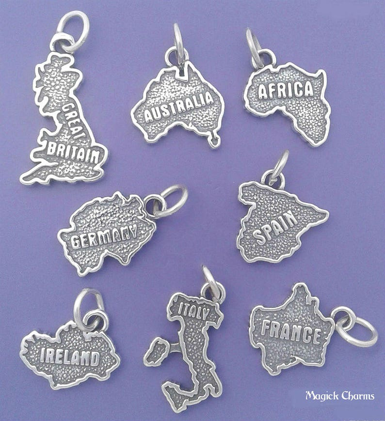 COUNTRY MAP Charm 925 Sterling Silver Travel Souvenir Pendant image 0