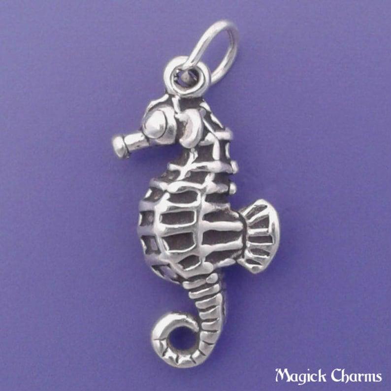 SEAHORSE Charm .925 Sterling Silver Sea Horse Pendant  lp2715 image 0